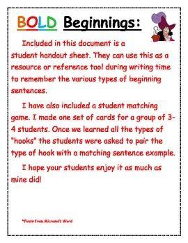 Types of writing hooks