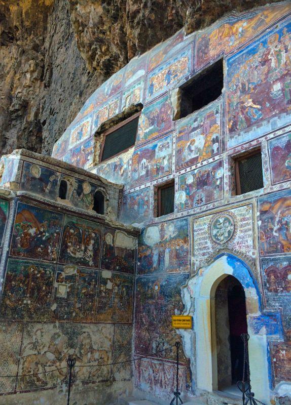 The rock chapel at the Sumela Monastery near Trabzon, Turkey.