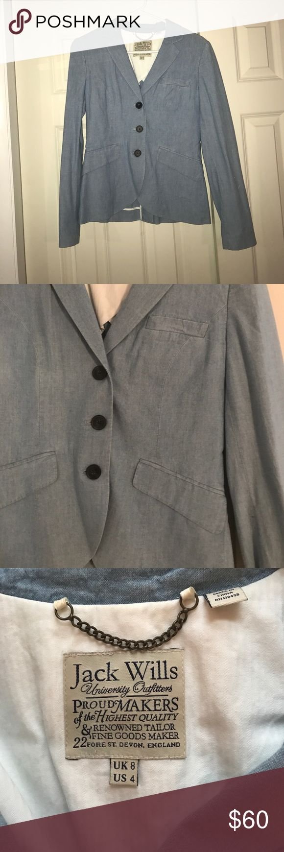 NWOT Jack Wills Chambray Blazer NWOT Jack Wills chambray blazer. Never worn and great condition with no stains or tears. Three button front and jacket has tampered front and back. Light weight jacket perfect for spring/summer. Jacket is also lightly lined. Size US 4 Jack Wills Jackets & Coats Blazers