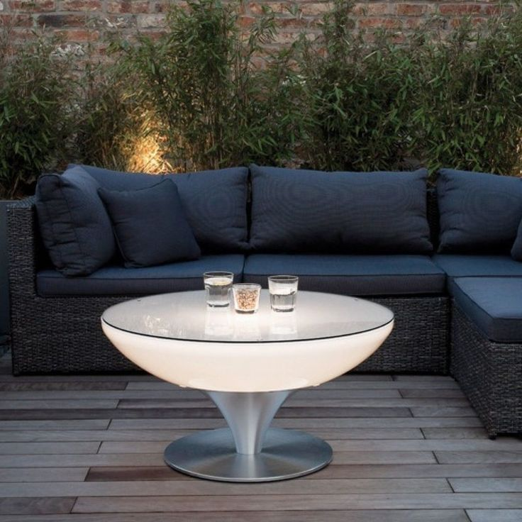 LED Coffee Table Glass Top Color Changing Lights Modern Indoor Outdoor Furniture #ContempoLightsInc #Modern