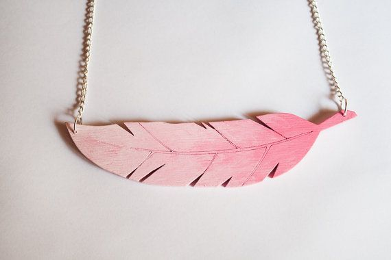Hey, I found this really awesome Etsy listing at https://www.etsy.com/listing/216466293/pink-wooden-feather-necklace-hand