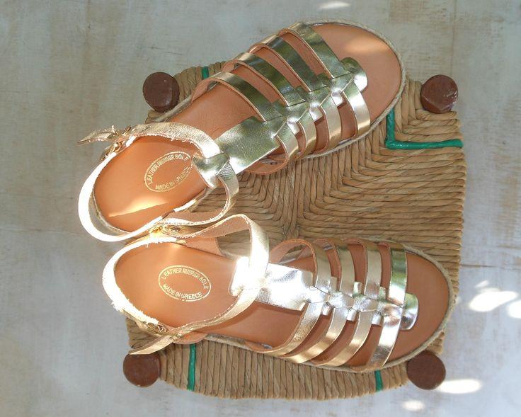 10% OFF! Leather Flatform Wedges Spartan Sandals, Espadrilles Leather Sandal, Gold Color Flat Platforms, Platform Straps Sandals Extra Comfy by ENOTIA on Etsy