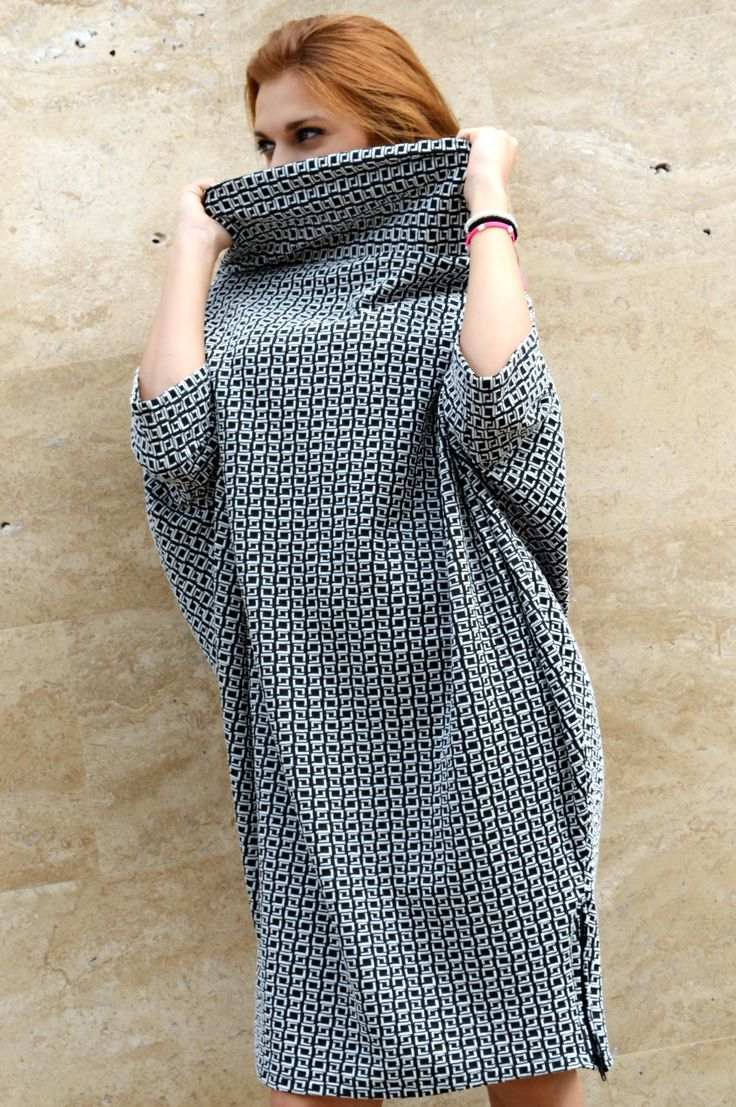 Black and White Caftan / Oversize Kaftan Dress/ Plus size Collar Dress/ Warm Fall Winter Dress by Zenmix by Zenmix on Etsy