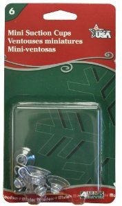 Adams Christmas 7000-75-1043 Mini Suction Cup, 6-Pack by Adams. $2.98. Actual suction cup size - 3/4-inch. Rated to hold up to 0.5-pound. Light diffusing rings prevent light from damaging surfaces. Pack of 6 cups. Superior material resists yellowing. Adams super-strong suction cups do not yellow, deteriorate, or lose adhesion over time. These suction cups have light diffusing rings that prevent focused light from damaging interiors, while the superior material resists ...