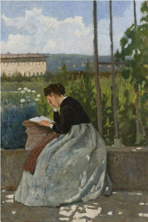 Silvestro Lega Lettura romantica, 1870 ca olio su tavola Collezione privata