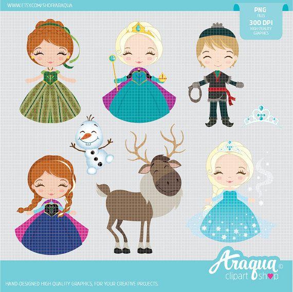 Frozen  The Snow Queen Clipart Set  Instant Download  PNG