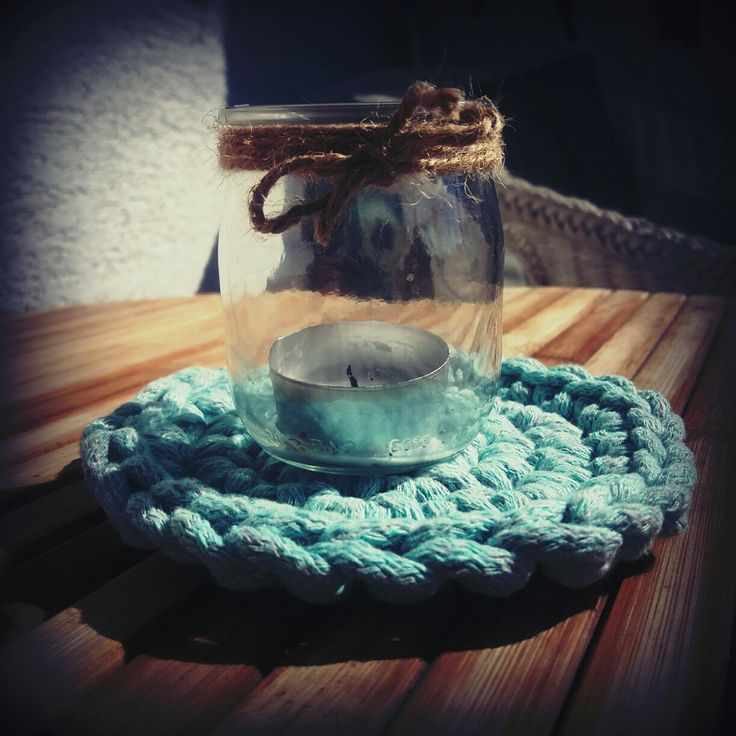 #crochet #diy #doityourself #candle #homeideas #jar #handmade #home decor #decor #inspire #cottonstring #homedesign #knitting