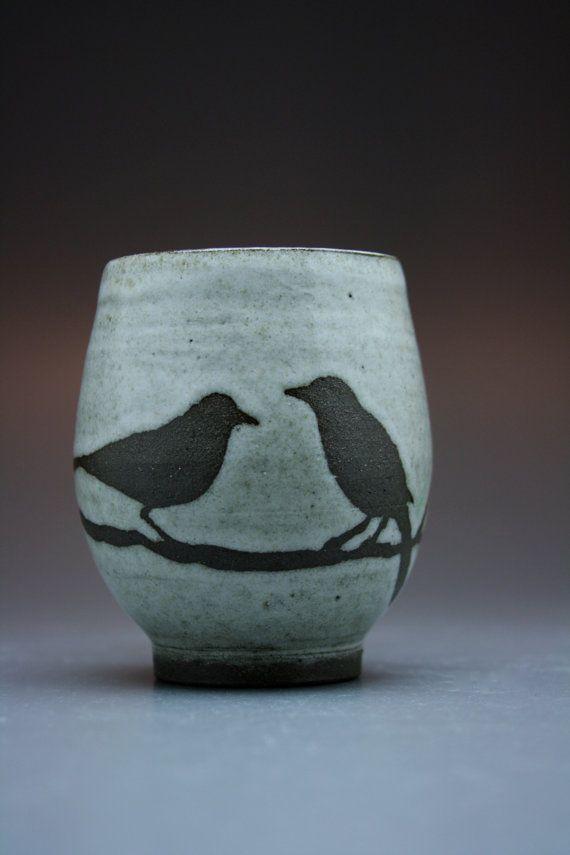 Foxtail Pottery Mug 2 Birds Antique White Glaze A