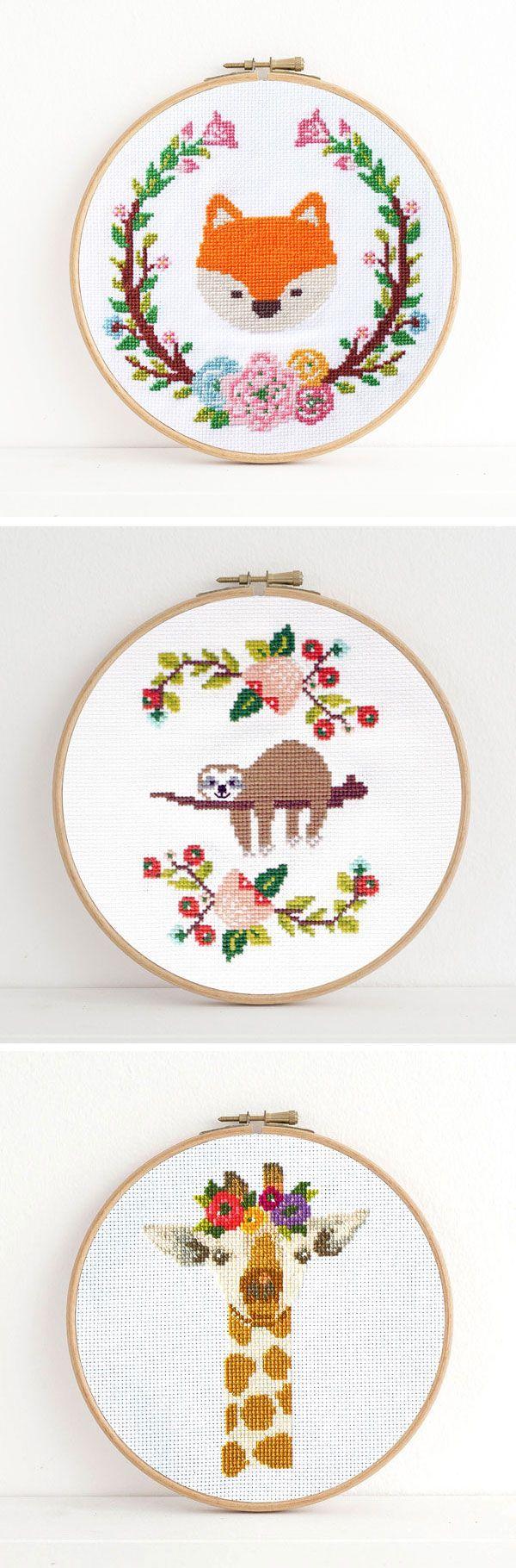 Adorable animal cross stitch patterns by Dear Sukie #crossstitch #moderncrossstitch #xstitch
