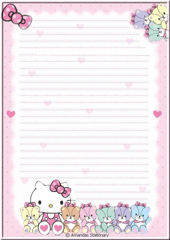 hello kitty writing paper Hello kitty, the fictional character designed by japanese designer yuko shimizu, is one of the most popular subjects for kid's coloring pages.