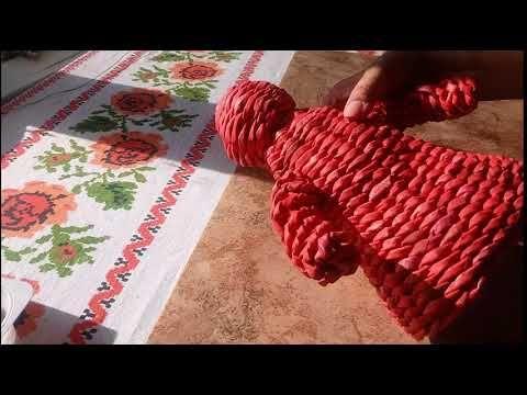 Дед Мороз из бумажных трубочек. Газетное плетение