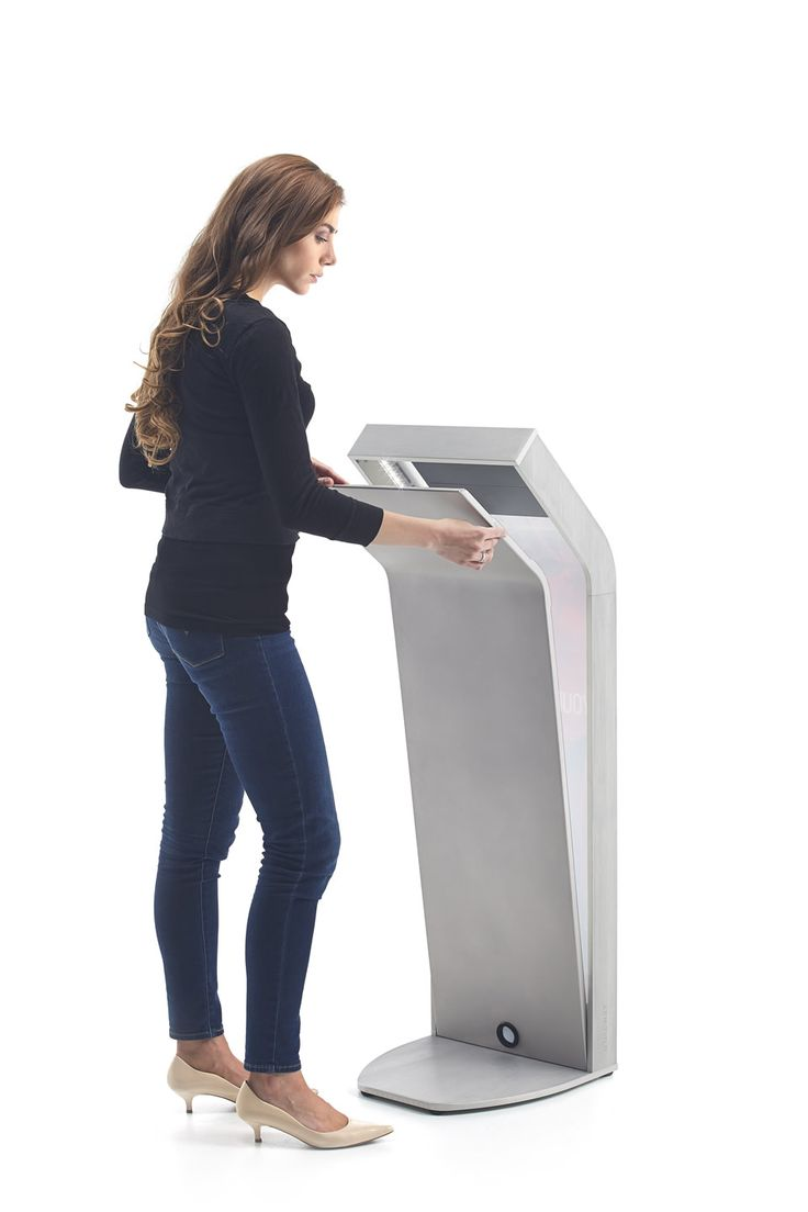 AURA by Armodilo | Tablet Kiosk with magnetic & removable back-lit graphic panels -- back access panel being opened
