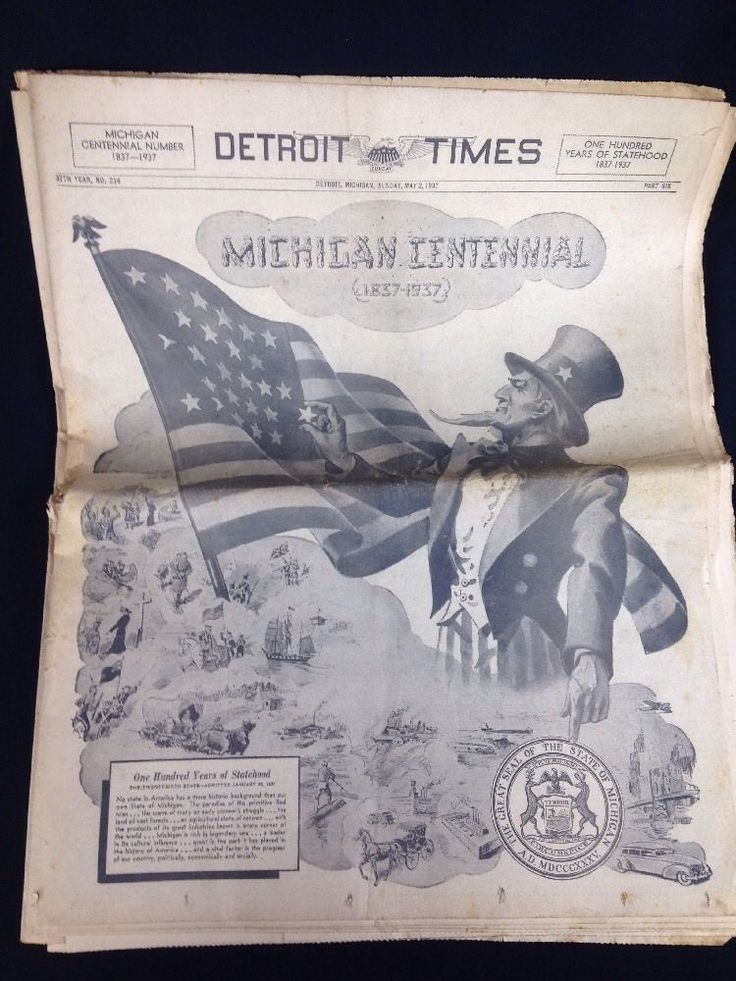 Picture of Uncle Sam on cover. Detroit Times Newspaper May 2, 1937. Pre-owned, pretty good condition with some browning, contains three sections, does not appear to be the entire newspaper. Early History of Detroit in Pictures. | eBay!