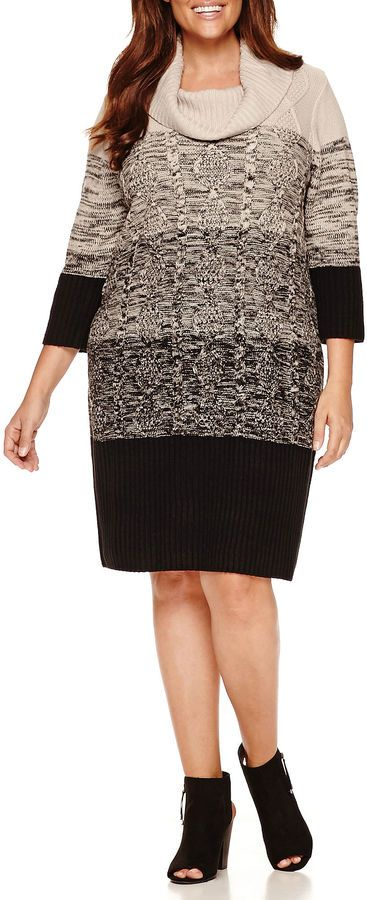 Studio 1 3/4 Sleeve Cowl Neck Plus Size Sweater Dress