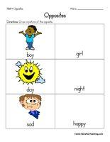 Opposites Worksheet - Have Fun Teaching