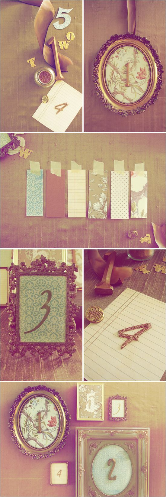 DIY Vintage Frame Table Numbers via Project Wedding