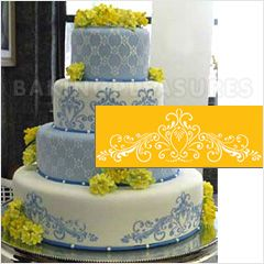 Cake stencil lace cakes and stencils on pinterest for Lace templates for cakes