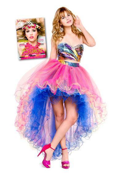 8801f657be Vestido de 15 fucsia turquesa muy colorido