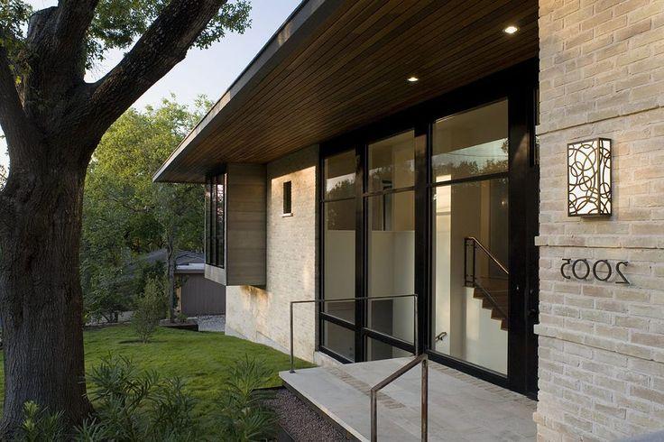 Beige brick house exterior modern with brick exterior recessed lighting brick exterior