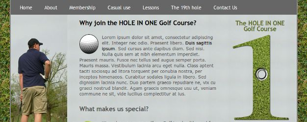 TheHoleInOne is a 3-column HTML5 and CSS3 template perfect for a golf-oriented site.