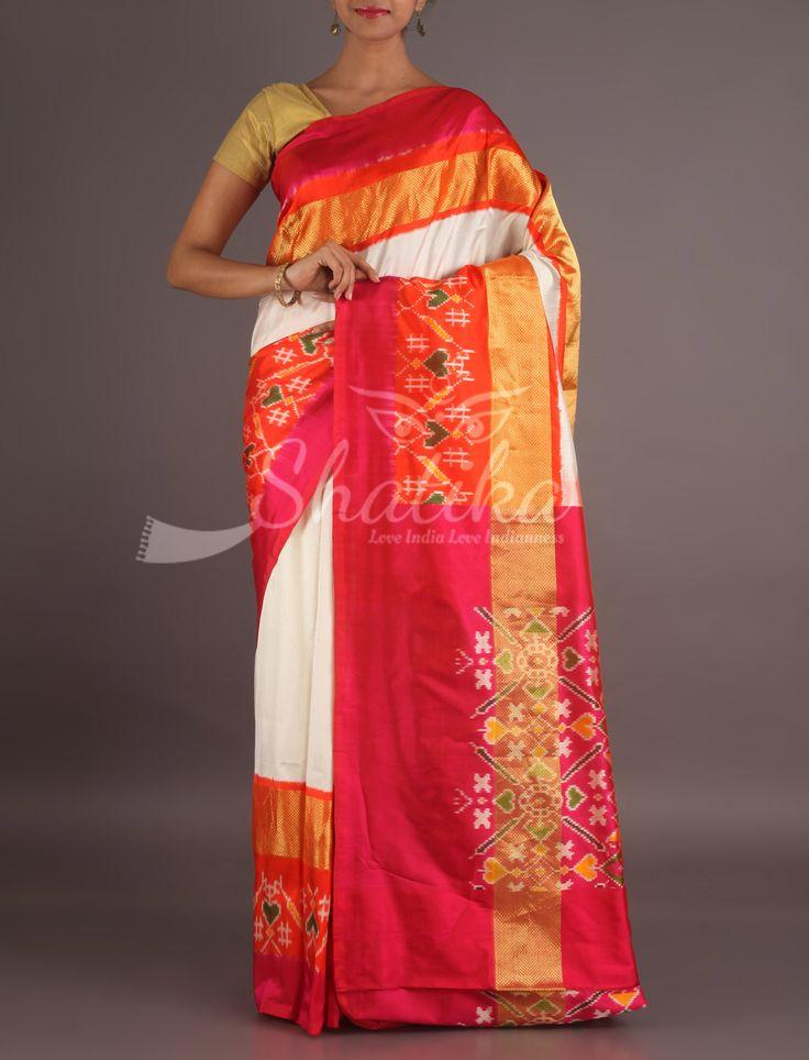 Aradhana White With Rangoli Design Border Pallu Ikat #PochampallySilkSaree