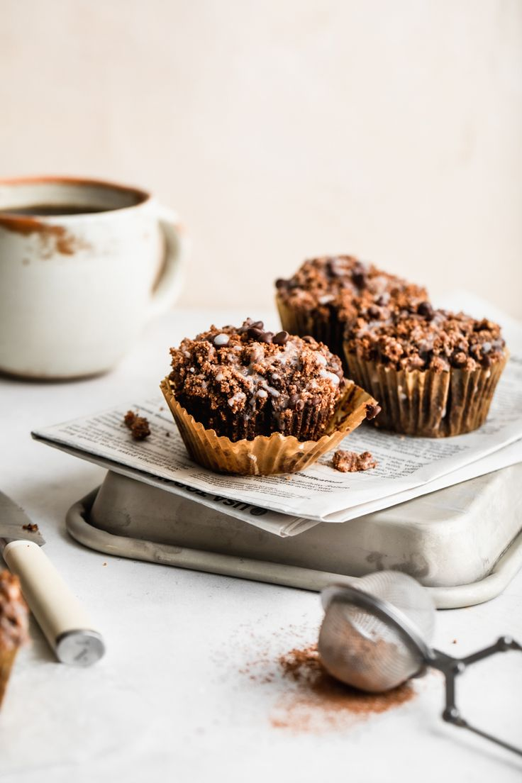 A triple dose of chocolate wrapped up in a sweet muffin loaded with chocolate chunks and a chocolate streusel topping. T…