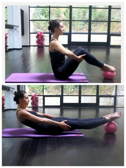 Roll back with pilates ball. Looks easy but you will the burn on your abs! Love this!!