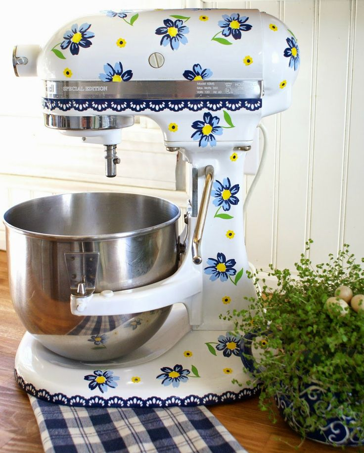 Charming Vintage Blue Flower Decals Designed For My Kitchenaid Mixer (mine Has  Yellow Lace) By HensinDaisies On Etsy   Flower Design Was Taken From The  Flowers On My ...