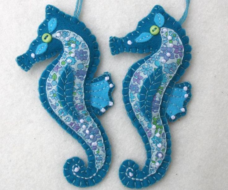 Handmade Felt Seahorse Ornament, Felt Christmas ornament