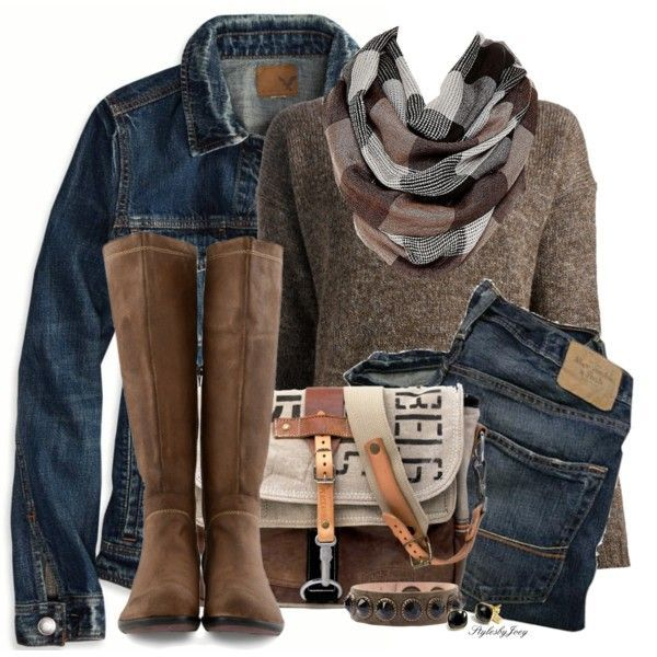 Denim jacket, denim pants, earth tone colored JUCCA crew neck sweater with matching boots, bag and bracelet. Ready for fall.