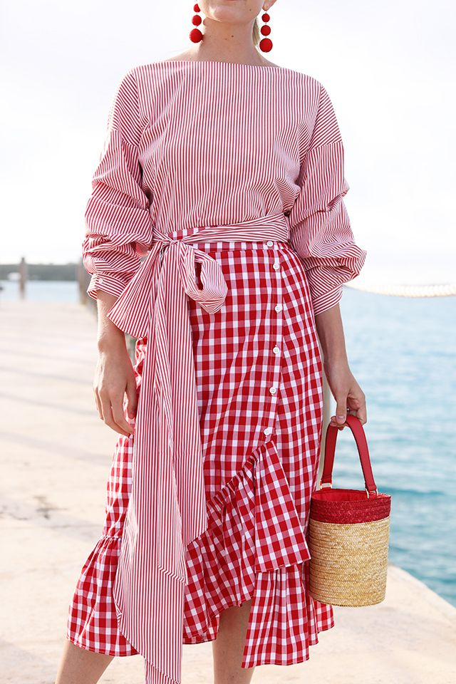 red striped top + red gingham midi skirt