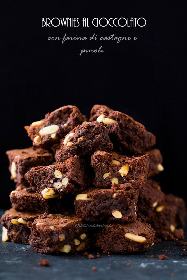 Chocolate brownies with chestnut flour and pine nuts (gluten free)