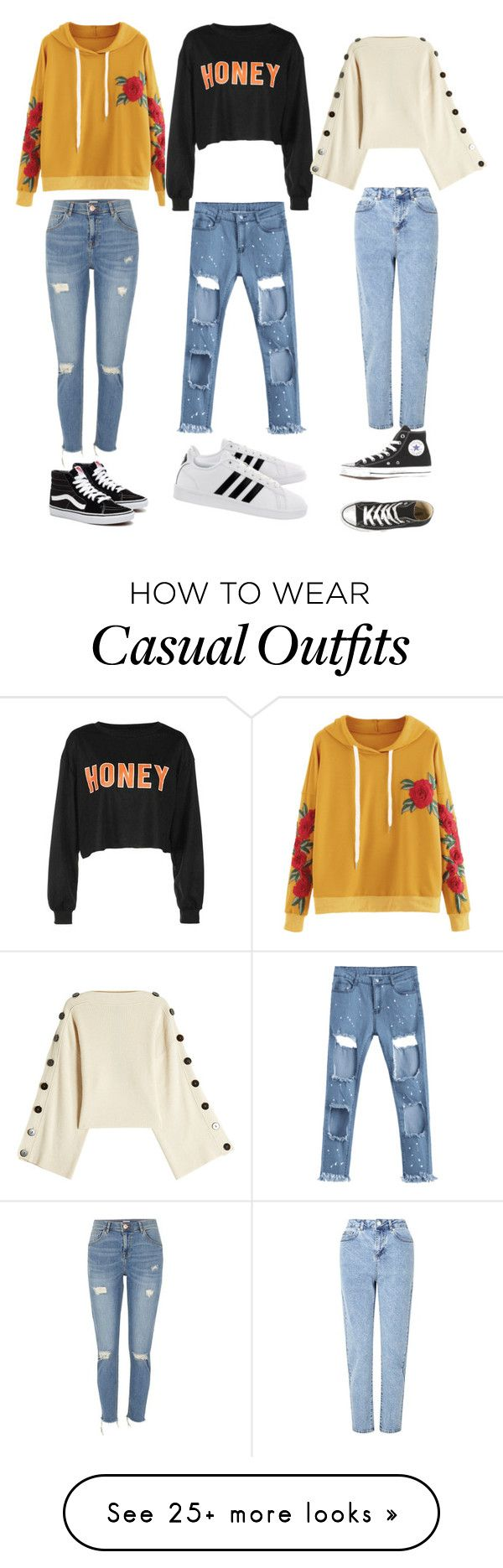 """""""Casual outfits."""" by siennarachel3 on Polyvore featuring Petar Petrov, Miss Selfridge, River Island and adidas"""