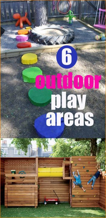 6 Outdoor Play Areas.  Many ideas for a small or large yard.  Play areas the kids will love and enjoy.  Keep the little ones entertained with a colorful and inexpensive play yard.