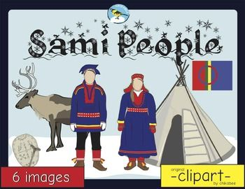 This clip art packet features people and objects related to traditional Sami culture.Images are provided in color and blackline. Please see the image list below:-man-woman-drum -drumstick-reindeer-tent-flagThis product is a .zip  le. The individual  les are saved in PNG format with transparent backgrounds.Terms of UsePersonal Use These graphics can be used in your personal documents, lessons, or resources.
