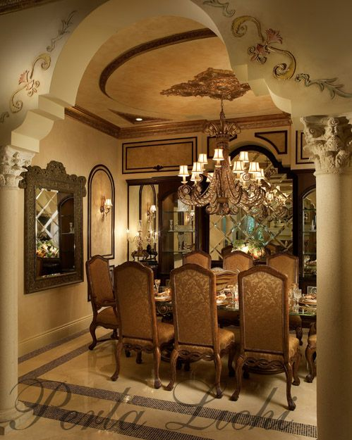 Bas relief embellishments on camelback arch entrance to for Dining room entrance designs