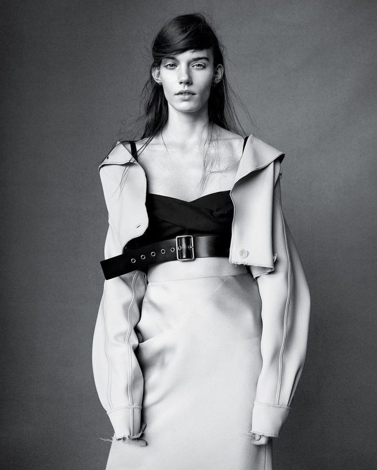 Love the mood hair and styling    Layering.... Giorgio Armani jacket and skirt, Jil Sander top