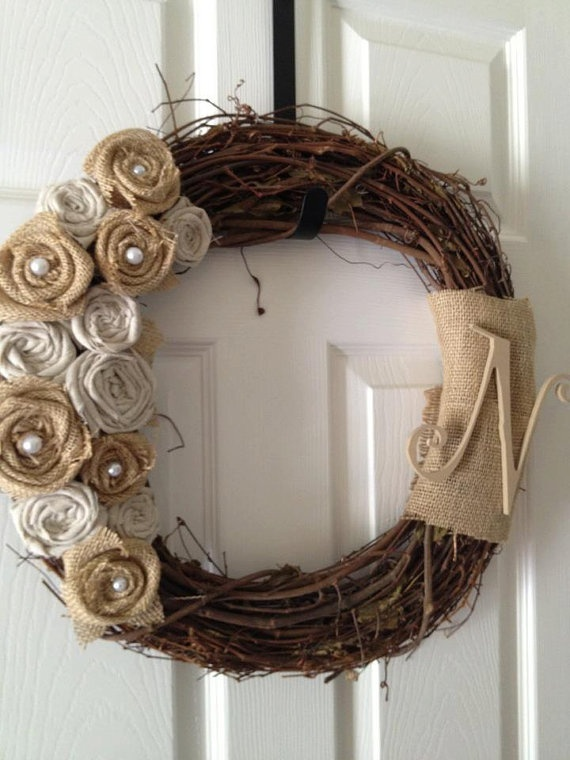 Shabby Chic Burlap and Linen Rosette Wreath by LucyLocketDesigns, $49.99