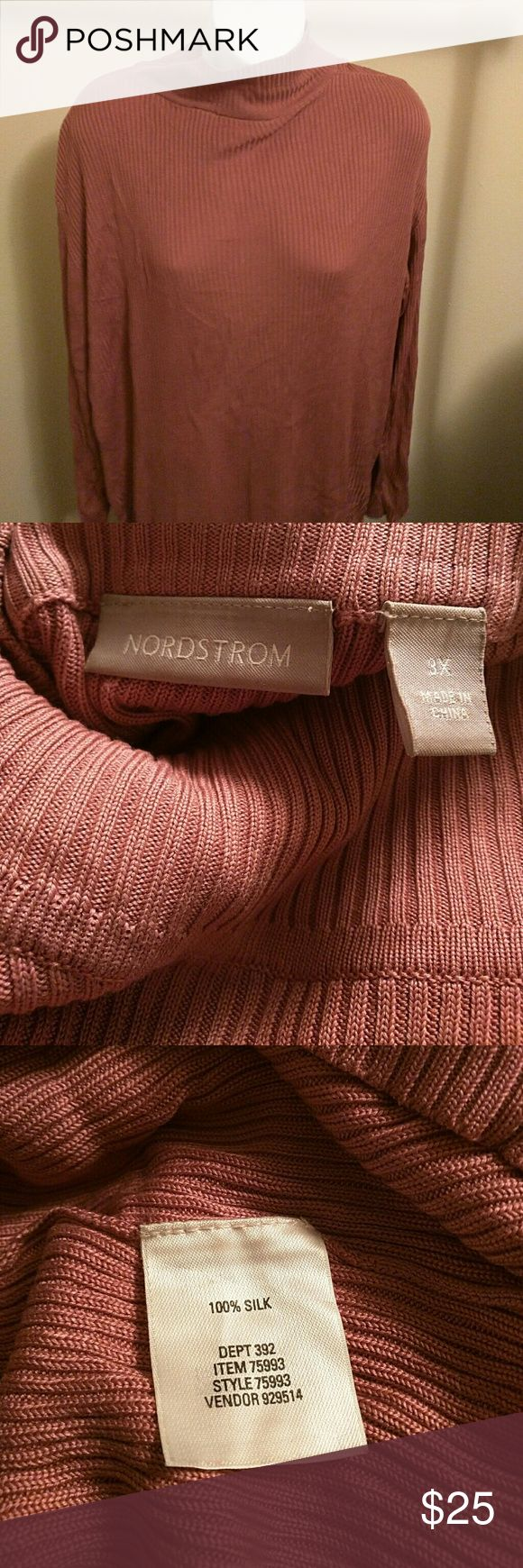 Silk ribbed turtleneck in raspberry sherbet color Rarely worn excellent condition. Color has also been called dusty rose Nordstrom Sweaters Cowl & Turtlenecks