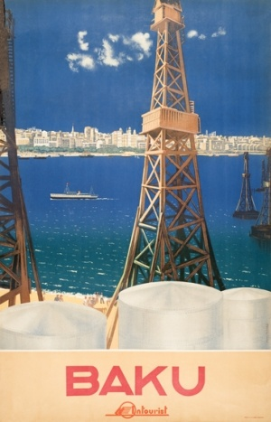 High quality giclee fine art reprint of a 1930s Soviet travel poster by M Nesterova-Berzina designed for the State Travel Company Intourist, available at www.AntikBar.co.uk. View of Baku, capital of Azerbaijan, with oil rigs on the beach and city in the distance.