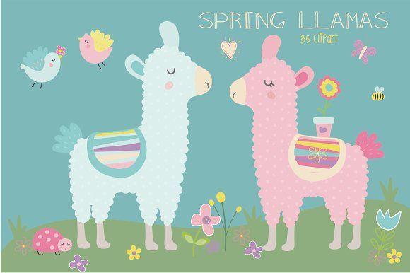 Spring llama by Poppymoondesign on @creativemarket