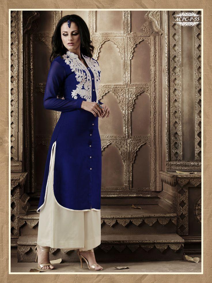 #Blue #Colour #Embroidery #Georgette Stitched #Kurti..  Shop Now @ www.glamyshop.com