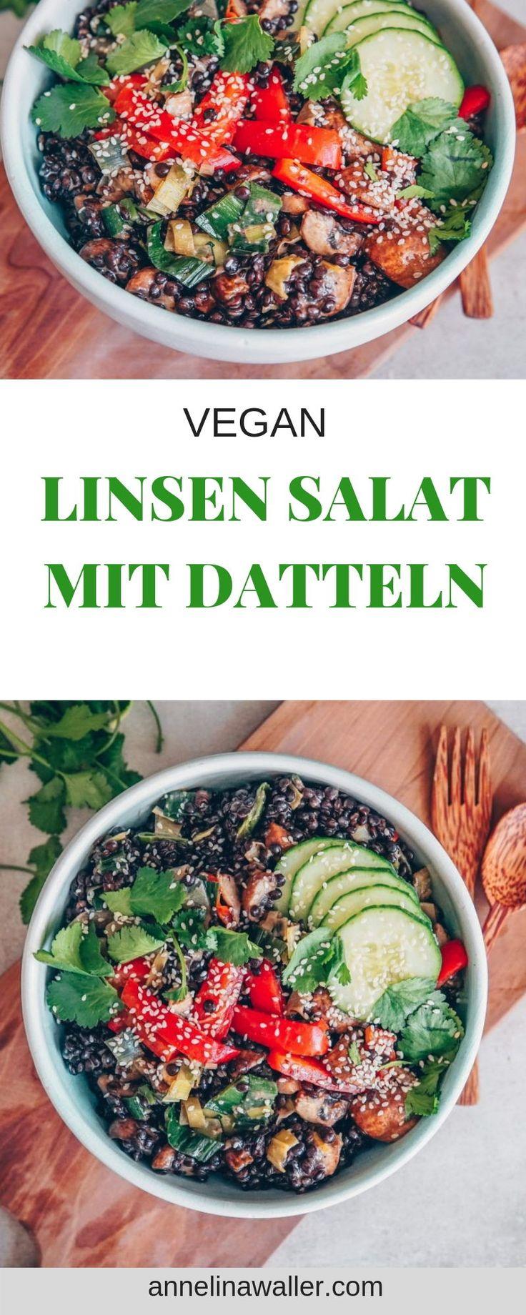 Linsensalat mit Datteln, vegan   – Annelina Waller vegane Rezepte und nachhaltiges Leben