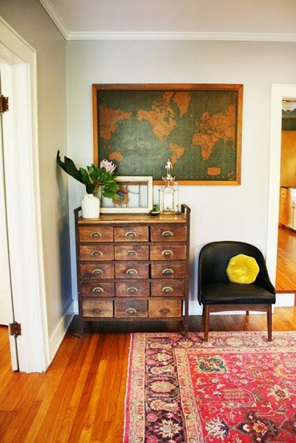 card catalog + map