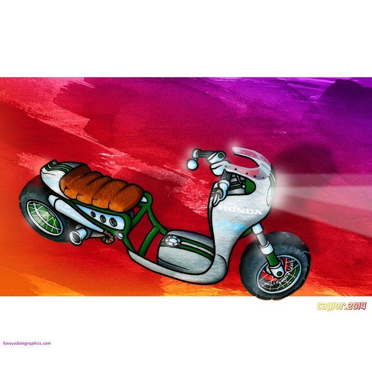 Honda Ruckus Cafe Racer http://www.redbubble.com/people/howyadoin/calendars/13088352-bikes #motorcycleart #scooter #honda #ruckus