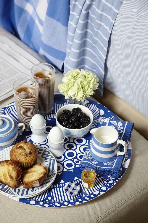 Breakfast in Bed - Blue, Marimekko tray. Photo by Nick Steever, Styling Abby Walton
