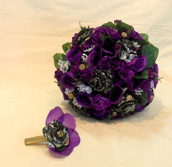 Camo Wedding Bouquet, Camo Bridal Bouquet, Camo Wedding, Purple Silk Flowers, Brass Bullet Shells. Keepsake Bouquet, Alternate Bouquet