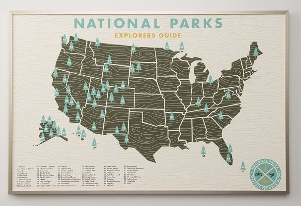 Wanderlusting... US National Parks Map Print
