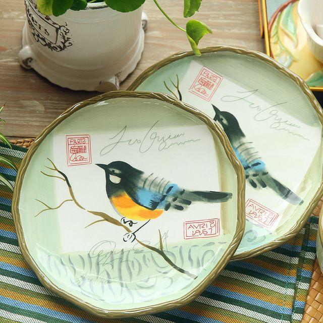 Бесплатная доставка 8 дюймов ручная роспись посуда свадебные новоселье подарков-плоское керамические пластины блюда тарелку посуда пластины