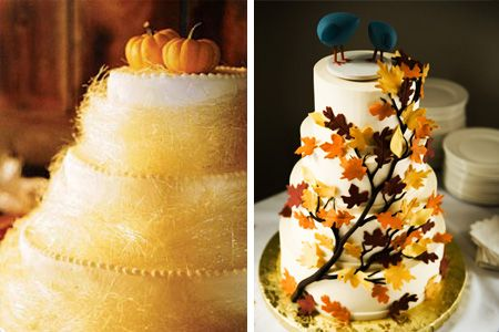 Harvest Wedding: fall wedding cake ideas autumn leaves and pumpkins... I want this whole wedding!!!